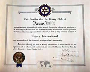 Carta Costitutiva RotaryClub Pesaro